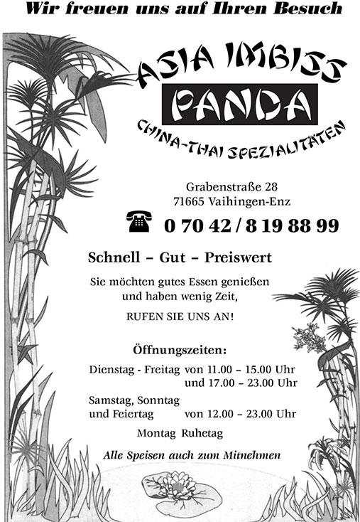 Speiskarte Panda Asia Imbiss Vaihingen